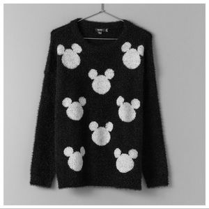 NWT. Bershka Black Mickey Fuzzy Sweater. Size M.